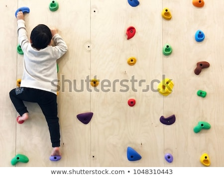 Wooden wall with climbing holds in gym Stock photo © galitskaya