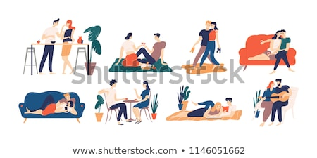 Man and Woman Drinking Coffee and Playing Vector Stock photo © robuart