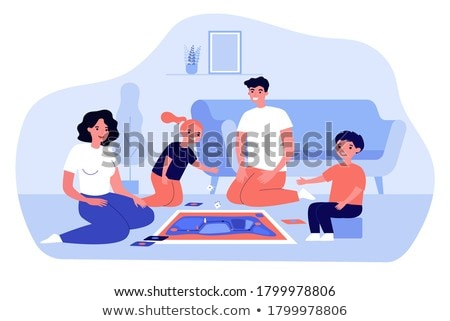 Family with Two Children in Gaming Room Vector Stock photo © robuart