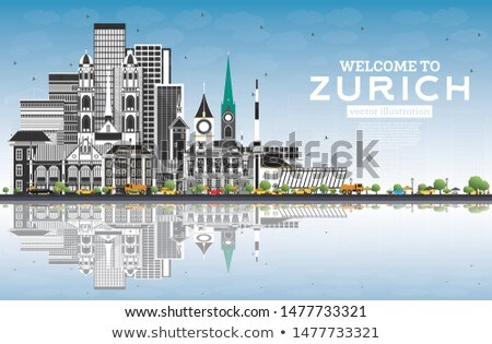Zurich Skyline with Gray Buildings and Blue Sky. Stock photo © ShustrikS