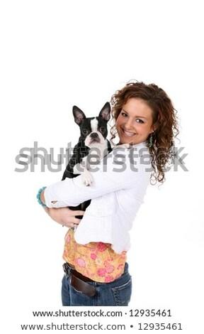 Fashionable slender girl with a small dog Stock photo © ayaxmr