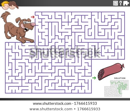 maze educational game with cartoon dog and sausage Stock photo © izakowski