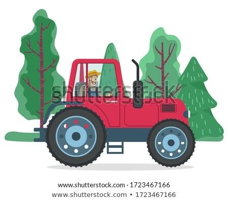 農家 運転 トラクター 緑 木 ベクトル ストックフォト © robuart