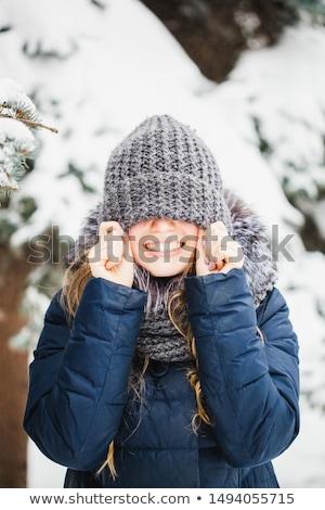 Winter portret jonge vrouw jonge mooie natuurlijke Stockfoto © kyolshin