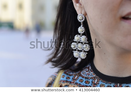 Stock fotó: Fül · gyémánt · lány · haj · bőr · fiatal