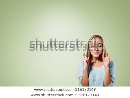 Femme d'affaires up yeux blanche mur Photo stock © wavebreak_media
