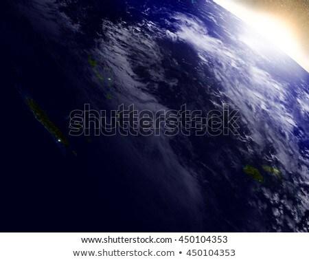 New Caledonia, Fiji and Vanuatu from space during sunrise Stock photo © Harlekino