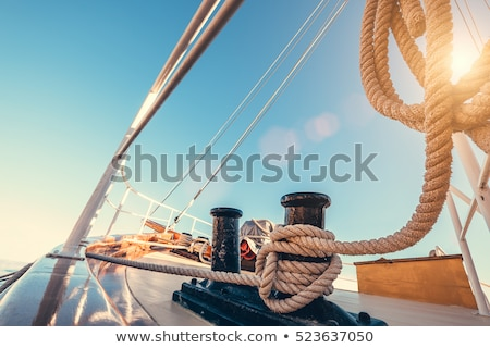 Winch with rope on sailing boat in the sea Stock photo © JanPietruszka