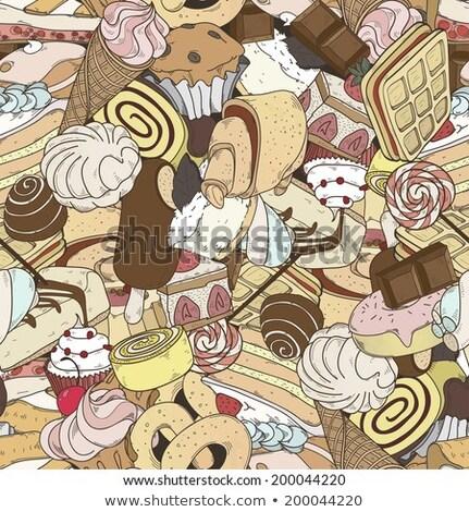 Conjunto diferente doce esboço comida aniversário Foto stock © frescomovie