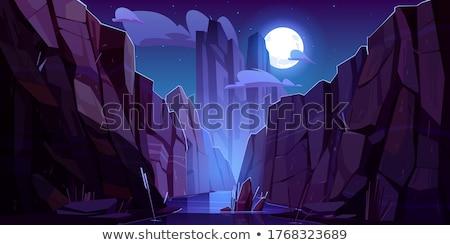 石 懸崖 現場 夜 插圖 樹 商業照片 © bluering