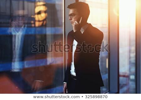 drukke · ondernemer · portret · geslaagd · jonge · man · roepen - stockfoto © deandrobot