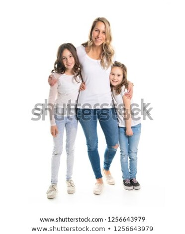 caucassian mother with child girl in studio white Stock photo © Lopolo