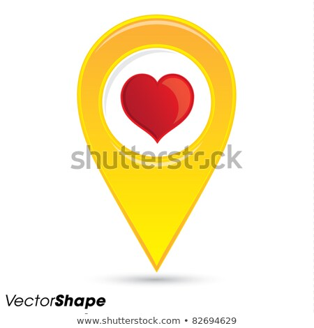 Pointer pin up icon with heart path, valentine concept, vector. Stock photo © kyryloff