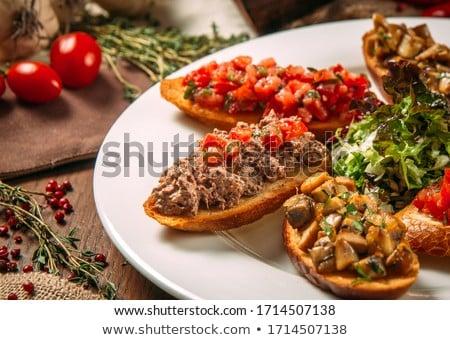 Szalag szett bruschetta fából készült étterem asztal Stock fotó © Illia