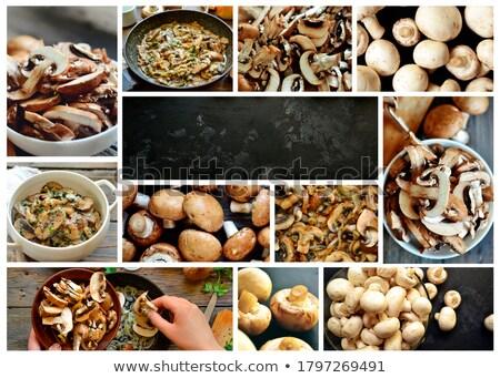 Banner of Fresh white mushrooms champignon in brown bowl Stock photo © Illia