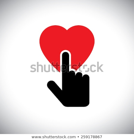 human heart icon with hand touch, cardiac care, heart protection, healthy heart. Stock Vector illust Stock photo © kyryloff