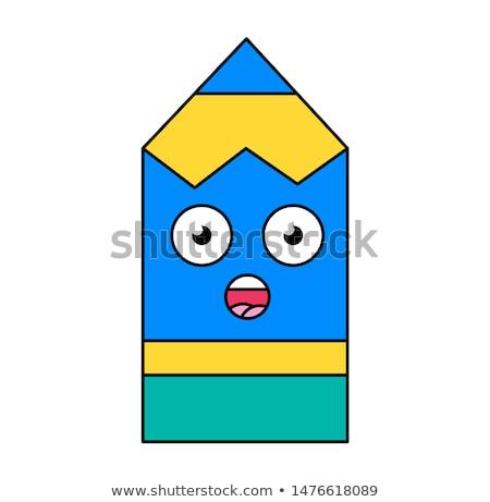 Surprised pencil emoji outline illustration Stock photo © barsrsind