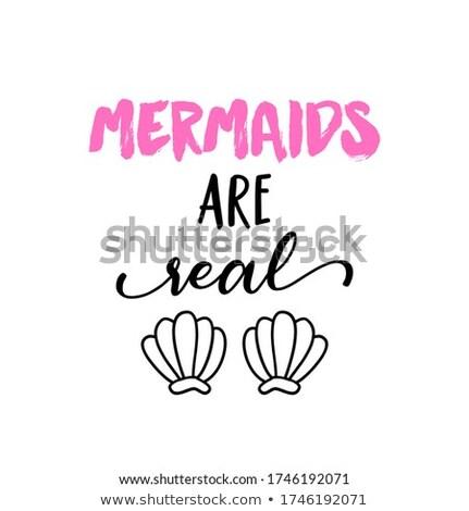 реальный смешные типографики русалка рыбы хвост Сток-фото © Zsuskaa