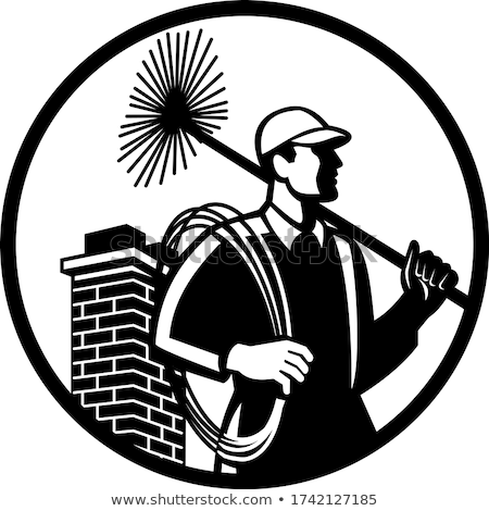 Chimney Sweep Holding Sweeper and Rope Circle Retro Black and White Stock photo © patrimonio