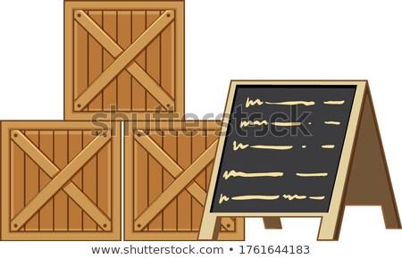 Fából készült menü iskolatábla izolált fehér keret Stock fotó © bluering
