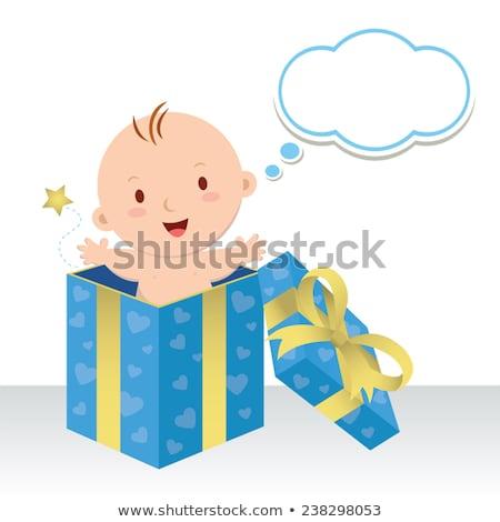 Desenho animado feliz menino balão de pensamento mão Foto stock © lineartestpilot
