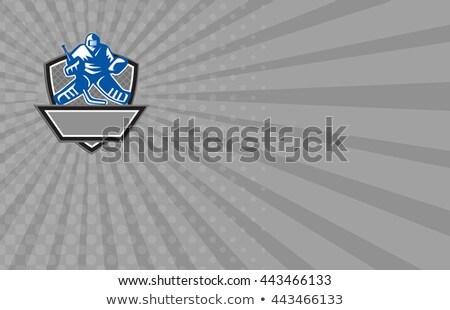 business card ice hockey goalie crest retro stock photo © patrimonio