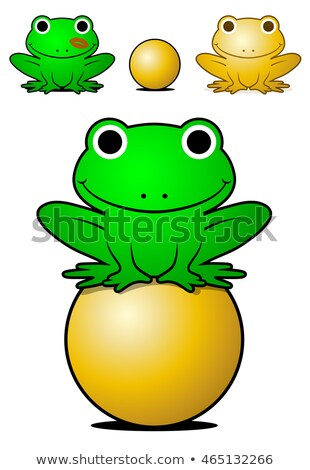 Smiling green frog balancing on a golden ball Stock photo © adrian_n