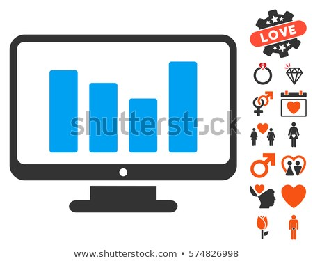 Oszlopdiagram kirakat ikon randizás bónusz házasság Stock fotó © ahasoft