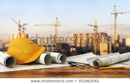 Tablet and tools with 3d house plan concept Stock photo © ra2studio