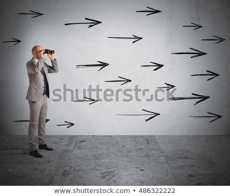 бизнесмен глядя вперед бинокль облачный Сток-фото © ra2studio