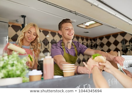 カップル 幸せ 小さな 食品 トラック 通り ストックフォト © dolgachov