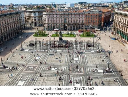 Légifelvétel tér tető híres katedrális Milánó Stock fotó © ShustrikS