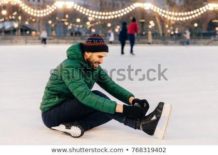 Kellemes néz férfi zöld kabát kalap Stock fotó © vkstudio