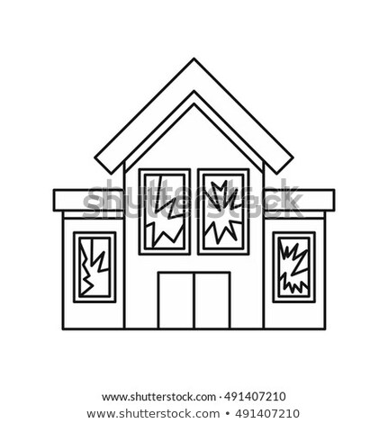 stone-broken window icon vector outline illustration Stock photo © pikepicture