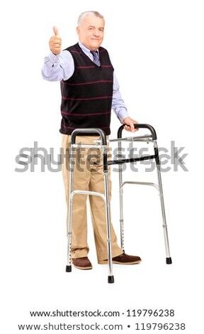 Holding hands for support with senior man  using medical equipme Stock photo © boggy