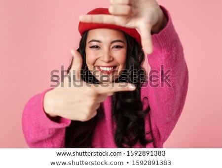 Imagem asiático menina sorridente photo frame Foto stock © deandrobot