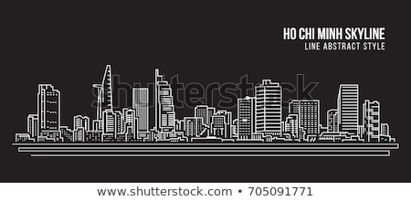 Ho Chi Minh City skyline black and white silhouette. Stock photo © ShustrikS