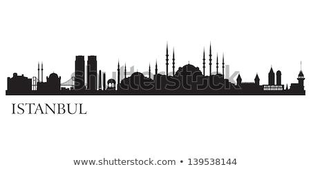 Istanbul City skyline black and white silhouette.  Stock photo © ShustrikS