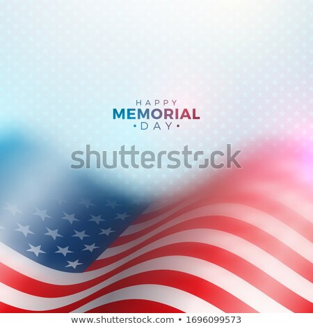 Memorial Day Of The Usa Vector Design Template With Blured American Flag On Light Star Pattern Backg Stok fotoğraf © articular