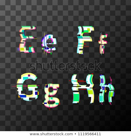 Glitch distortion font. Latin E, F, G, H letters on transparent Stock photo © evgeny89