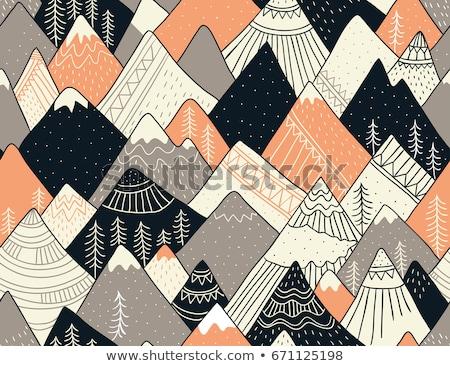 Kézzel rajzolt hegy végtelen minta tájkép minta szeretet Stock fotó © natali_brill