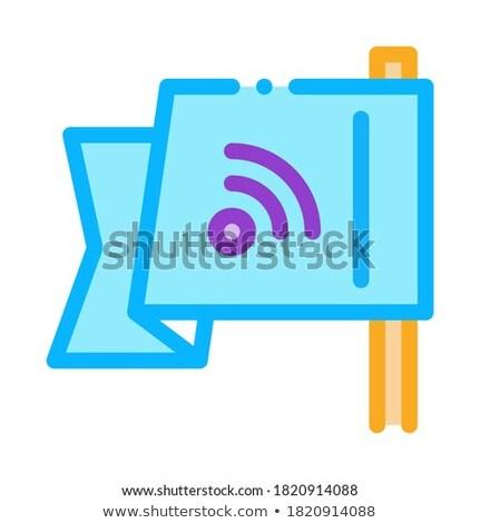 Keresőoptimalizálás uticél zászló ikon vektor skicc Stock fotó © pikepicture
