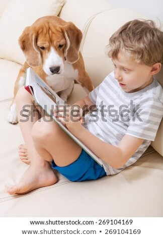 Modern boy with his dog Stock photo © ivonnewierink