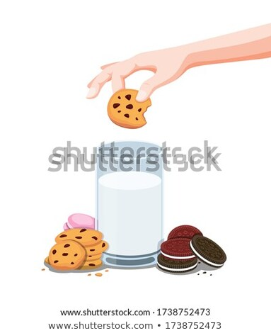 Chocolate cookies with a glass of milk Stock photo © Zerbor