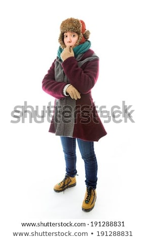ijedt · nő · meleg · kockás · portré · háttér - stock fotó © bmonteny