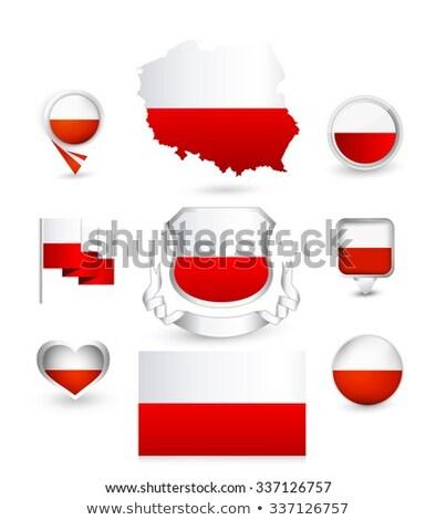 Kare etiket bayrak Polonya yalıtılmış beyaz Stok fotoğraf © MikhailMishchenko