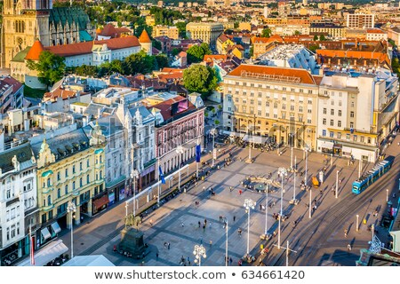 Aerial view at Ban Jelacic Square in Zagreb, capital town of Cro Stock photo © smuki