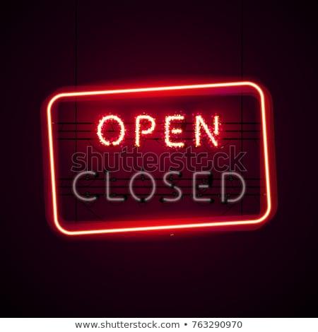 Stockfoto: Open · neonreclame · schitteren · neon