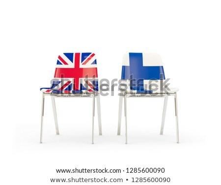 Twee stoelen vlaggen Finland geïsoleerd witte Stockfoto © MikhailMishchenko