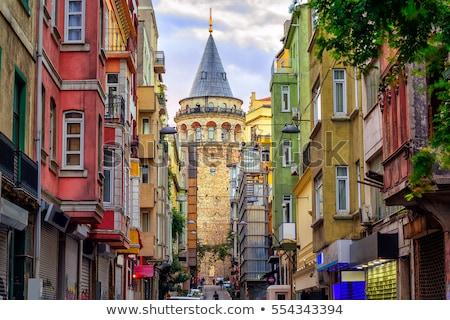 Középkori kő torony Isztambul Törökország panorámakép Stock fotó © boggy